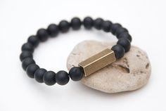 Black mens bracelet Onyx bracelet Matte beaded bracelet