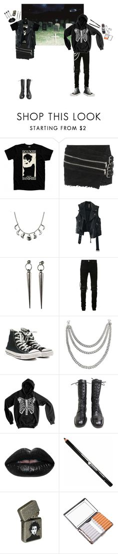 """""""two people meet in a cemetery"""" by amerisal ❤ liked on Polyvore featuring Balmain, Aroma, Free People, Minx Jewelry Design, AMIRI, Converse, L'Oréal Paris and Motorola"""