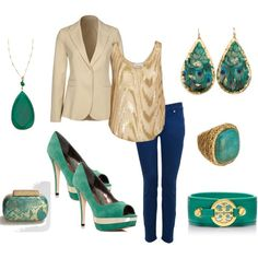 Nude, Gold, Turquoise, Royal Blue Outfit ready for a night out by kap-1105 on Polyvore