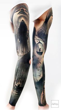 +++ Badass Norwegian Sleeve by Rainer Lillo / Backbone tattoo / Est instagram.com/l_i_l_l_o Bird tattoo, Bird cage, Realistic tattoo, boat tattoo, forest tattoo, darkart, black, true passion tattoo, life +++ #realistic_bird_tattoo