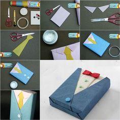 DIY Gift Wrapping Like a Suit and Tie | iCreativeIdeas.com Follow Us on Facebook --> https://www.facebook.com/iCreativeIdeas