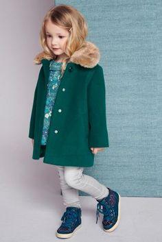 Купить Сине-зеленое пальто с воротником из искусственного меха (12 мес. - 6 лет) - Покупайте прямо сейчас на сайте Next: Россия