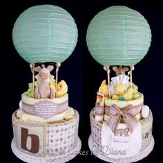 Hot Air Balloon Gender Neutral Diaper Cake www.facebook.com/DiaperCakesbyDiana