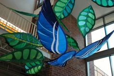 Banner Art Studio just completed this large-scale blue bird mobile (featuring native Cerulean Warblers), now on display at Wheeling Jesuit University. Take a look, and read about birds and the spirit of place on our blog.