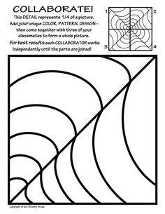 20 original tiles to decorate - then collaborate - for a rad radial artwork! Collaborative Art Projects, School Art Projects, Ivan Cruz, Symmetry Art, Art Handouts, Art Worksheets, Coloring Worksheets, 6th Grade Art, Ecole Art