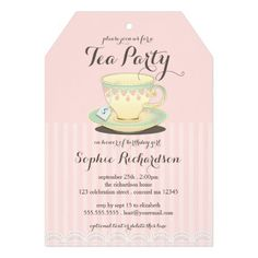 Chic Teacup on Pink Birthday Tea Party Custom Announcement