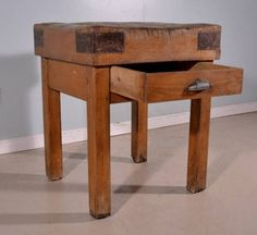 Antique French Butcher Block Table Island