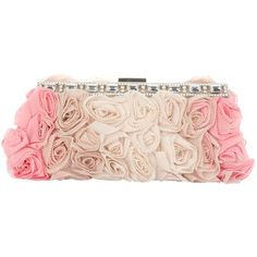VALENTINO rose clutch (€1.605) ❤ liked on Polyvore featuring bags, handbags, clutches, purses, pink, pink purse, clasp handbag, valentino handbags, pink handbags and man bag