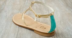 Via Caterola - Light Blue and Electric Gold | When light gold and electric blue meet, our Via Marucella sandals bring to life the magic of the summer sun hitting clear Capri seas.
