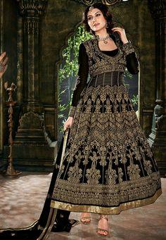 Black Faux Georgette and Satin Abaya Style Churidar Kameez: KGB2971