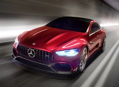 the hybrid 'AMG GT' self driving concept car features new mercedes AMG design cues that are to be found across the contemporary range, namely muscular, aerondynamic lines.