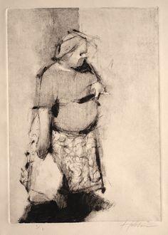 "©Frank Hobbs, ""Smoking Woman"" monotype, 12 x 9 in. | by frankhobbs"