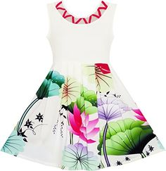 JF81 Flower Girl Dress Elegant Drawing Lotus Leaves Star Party Birthday Size 7 *** Click image for more details.