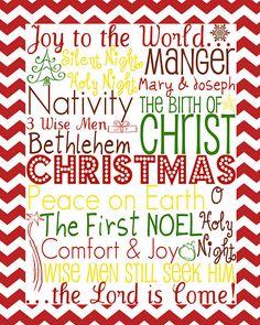 Day 3 of 12 Days of Christmas Fun: CHRISTmas Subway Art Printable | Food, Folks, and Fun