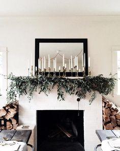 Classy Christmas decorating Christmas Mantels, Noel Christmas, Winter Christmas, Xmas, Christmas Fireplace, Fireplace Mantle, White Fireplace, Homemade Christmas, Farmhouse Fireplace