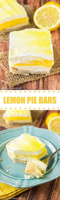 The BEST Lemon Pie Bars EVER!( Next time make a lemon pie filling( reduce the sugar) instead of lemon pudding and maybe it won't be so sweet) 13 Desserts, Lemon Desserts, Lemon Recipes, Sweet Recipes, Delicious Desserts, Dessert Recipes, Yummy Food, Bar Recipes, Summer Desserts