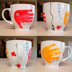 Cute Kids Crafts, Baby Crafts, Toddler Crafts, Crafts To Do, Paper Crafts, Fathers Day Mugs, Fathers Day Crafts, Fathers Gifts, Grandparent Gifts