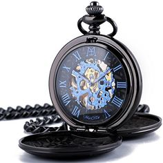 ManChDa Retro Mens Black Blue Double Open Skeleton Mechanical Roman Numerals Pocket Watch With Chain Gift: Watches Skeleton Pocket Watch, Mechanical Pocket Watch, Skeleton Watches, Vintage Pocket Watch, Mechanical Hand, Pocket Watch Tattoos, Pocket Watch Tattoo Design, Steampunk, Roman Numerals