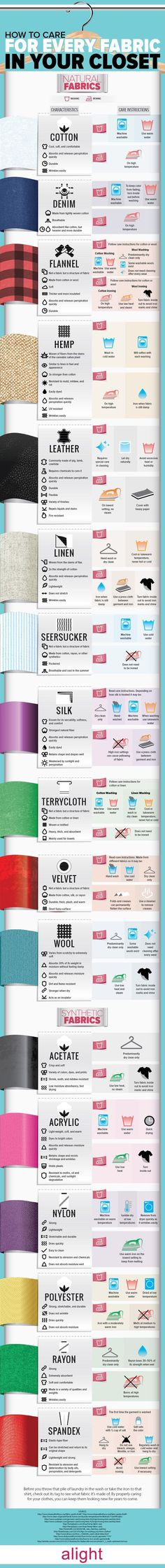 Get EASY Tips On How To Care For Every Fabric In Your Closet - this is a great way to preserve your clothes, which also saves you money!