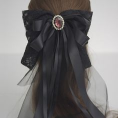 Black French Lace Fabric Oversized Bow Barrette, Maleficent - big hair bow, large bow, wedding headpiece
