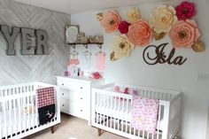 Sawyer and Isla's Nursery Reveal Shared Baby Rooms, Baby And Toddler Shared Room, Twin Baby Rooms, Boy And Girl Shared Room, Boy Girl Room, Baby Bedroom, Girl Decor, Baby Decor, Nursery Twins