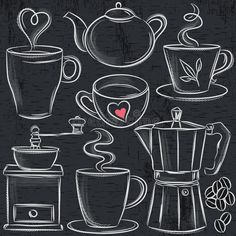 Homebrewing wine Homebrewing coffee Set Cup Of Hot Drink On Blackboard Stock Vector - Illustration of cook, menu: 50459775 - Set cup of hot drink on blackboard, vector - Coffee Chalkboard, Blackboard Chalk, Chalk Wall, Chalkboard Drawings, Chalkboard Lettering, Chalkboard Designs, Chalk Board, Doodle Lettering, Hand Lettering