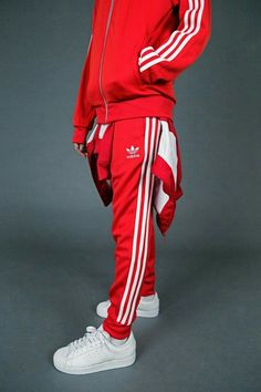 Track Suit Men, Red Adidas Tracksuit, Adidas Superstar Tracksuit, Adidas Outfit, Sporty Outfits, Sport Wear, Sport Fashion, Adidas Fashion, Style Clothes