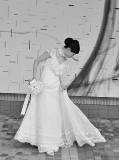 70's mixed lace wedding gown