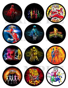 Power Rangers Printable Cupcake Toppers or Stickers. $4.00, via Etsy.