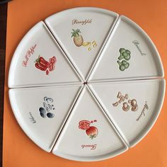 POTTERY BARN PIZZA BUONO SET OF 9 PIZZA SLICE PLATES EUC NO BOX #PotteryBarn