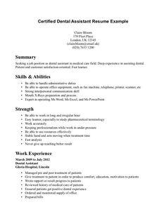 certified dental assistant resume