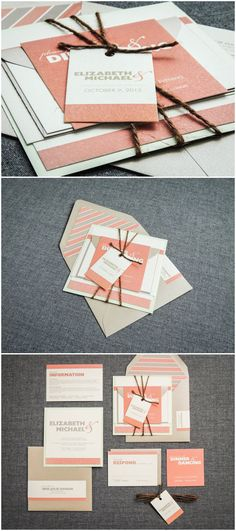coral and gray wedding color inspired rustic wedding invitations