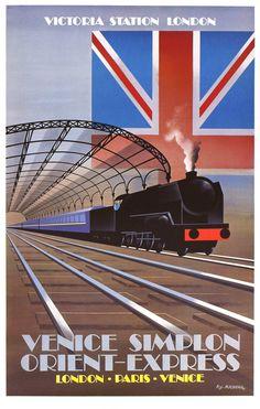 Train Posters, Railway Posters, Art Posters, Travel Ads, Train Travel, Orient Express Train, Venice Simplon Orient Express, Locomotive, Vintage Cabin