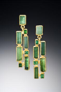 Emerald and tourmaline earrings by Petra Class