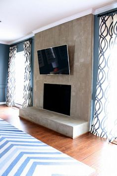 Replace our fireplace DIY Concrete Fireplace for Less Than $100!