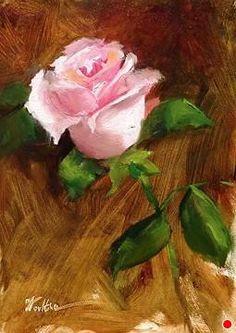 Rose Study after Daniel Keys by Dorothy Woolbright Oil ~ 7 x 5