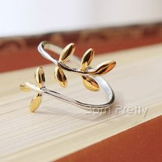 $4.20 Olive Branch Leaves Adjustable Silver Ring Double-color Allergy Free Simple Style Ring - BornPrettyStore.com