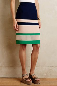 Anthropologie EU Parfait Pencil Skirt. Summer-inspired pencil skirt with a ultra-flattering fit, vibrant hues and gracefully sheer accent.