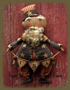Primitive Folk Art Pattern Sam I Am A Primitive Uncle Sam Hanger/Greeter #NaivePrimitive