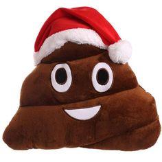 Coussin Emoji Emoticone Noël Poop caca