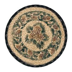 "Pinecones and Pine Boughs 10"" Round Braided Jute Trivet Set of 2 #80-025A"