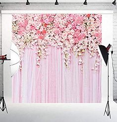 Pink Flowers Wall Photography Backdrops Rose Floral Spring Photo Background Baby Shower Wedding Studio Photographers Dessert Table Decor Booth Art Fabric Props Home & Kitchen Tea Party Baby Shower, Baby Shower Gifts, Groom Colours, Its A Girl Banner, Photo Booth Background, Springtime In Paris, Dessert Table Decor, Baby Shower Backdrop, Spring Photos