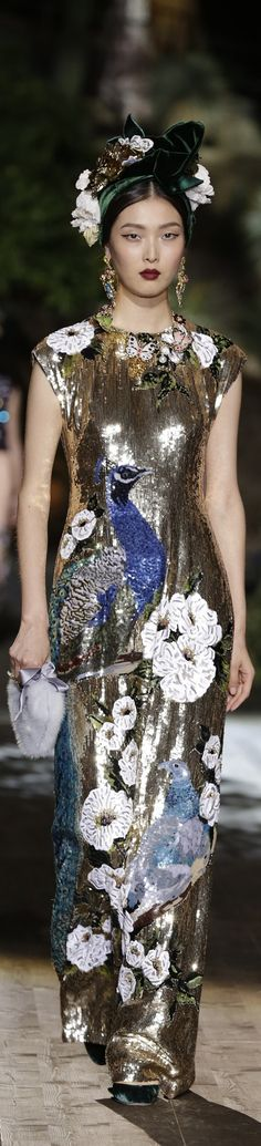 Dolce & Gabbana Alta Moda Fall 2015 couture, metallic with embroidered florals, sequined peacocks ❤❥*~✿Ophelia Ryan✿*~❥❤