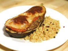 Töltött padlizsán recept Quiche Muffins, Main Dishes, Side Dishes, Bulgur Salad, Meatloaf, Mozzarella, Paleo, Pork, Beef
