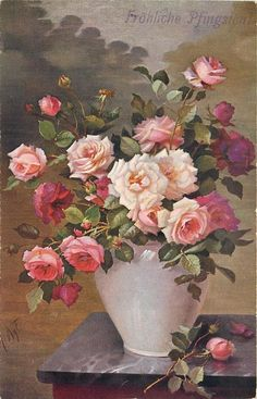 pink vase with pink and white roses, one rose & bud on table