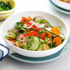 Crisp & Spicy Cucumber Salad Recipe -Rice vinegar, sesame oil and cayenne create a sweet-hot Asian flavor that will light up your taste buds! —Alivia Dockery, Jensen Beach, Florida