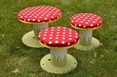 "Wire spools repurposed into little ""toad"" stools for kids!"