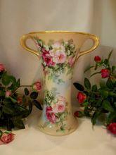 Beautiful, Graceful Limoges Swoop Handled Vase; Roses; Gold; Artist