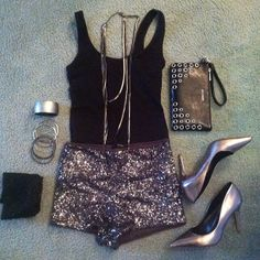 Sequin short and tank top with heels. Fancy chic sexy summer outfit.
