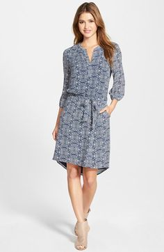 Free shipping and returns on Caslon® Three-Quarter Sleeve Print Shirtdress (Regular & Petite) at Nordstrom.com. An easygoing option for the office, a soft woven shirtdress in a choice of prints is styled with a pleated split neckline and a sash belting the waist.